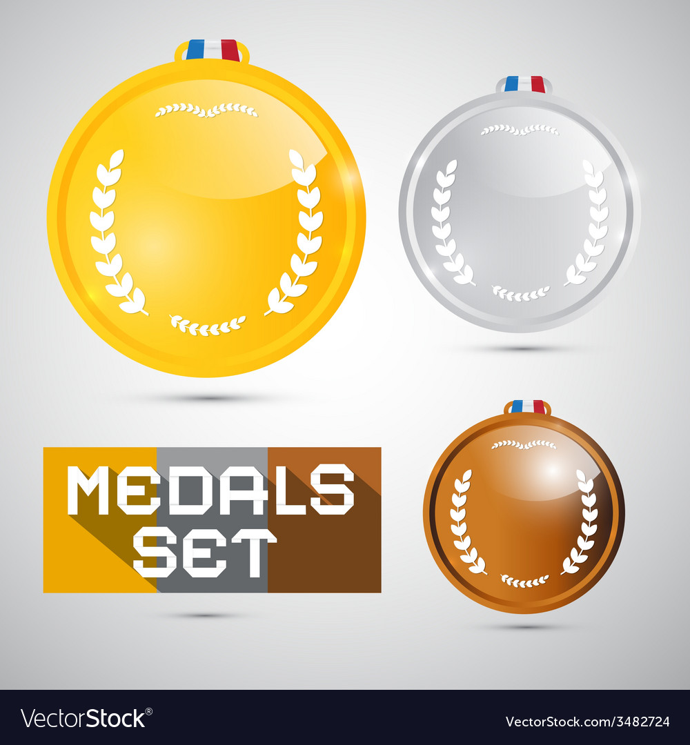 Medals set - gold silver bronze first second third vector | Price: 1 Credit (USD $1)