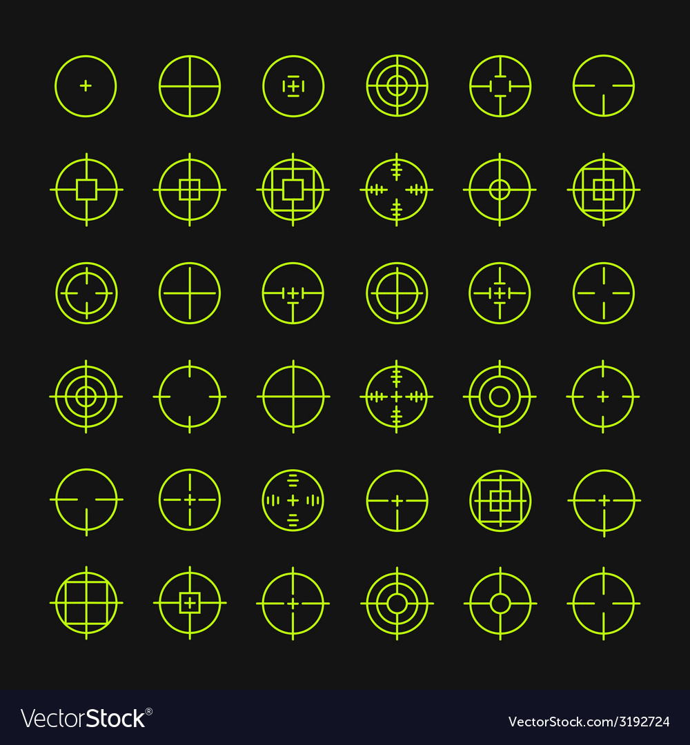 Set of different flat crosshair sign icons line vector | Price: 1 Credit (USD $1)