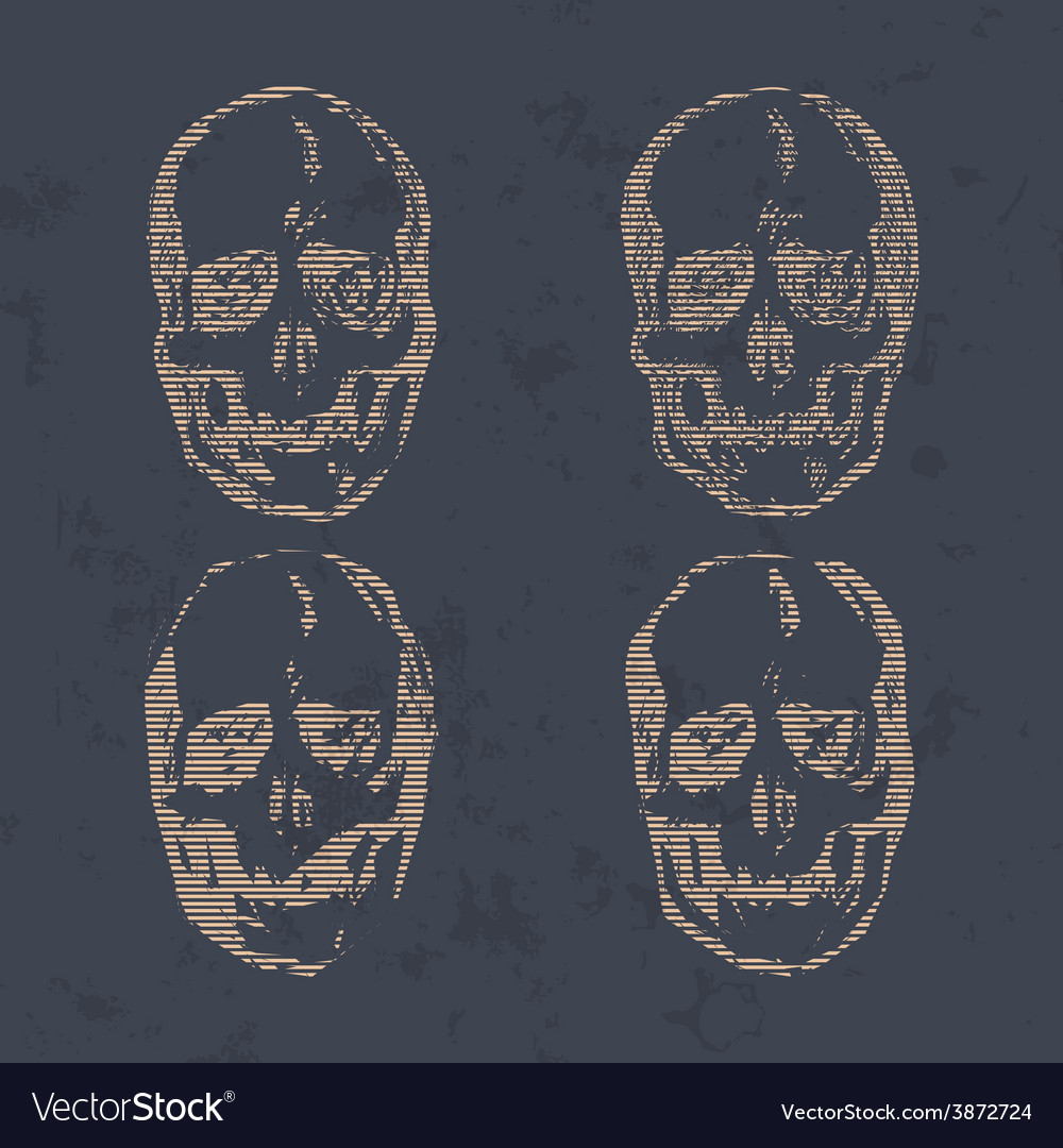 Set of skulls isolated on background vector | Price: 1 Credit (USD $1)