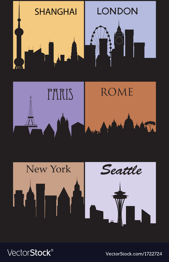 Silhouettes of famous cities vector | Price: 1 Credit (USD $1)