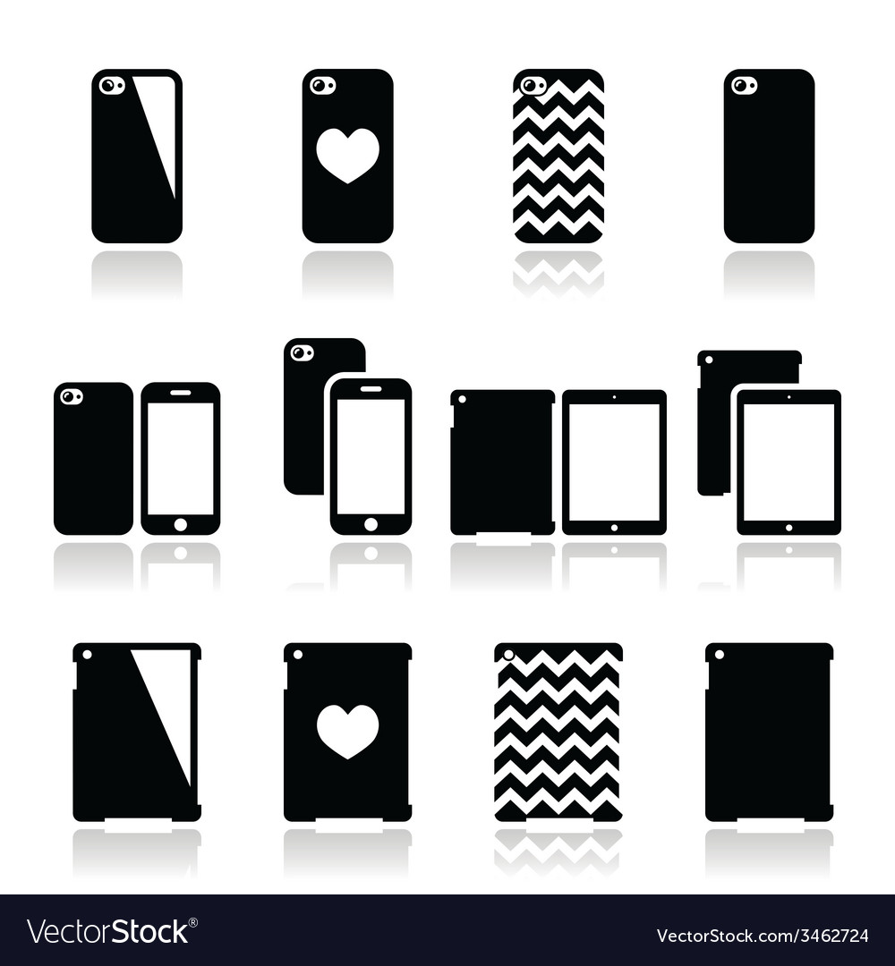 Smartphone tablet case icons set vector | Price: 1 Credit (USD $1)