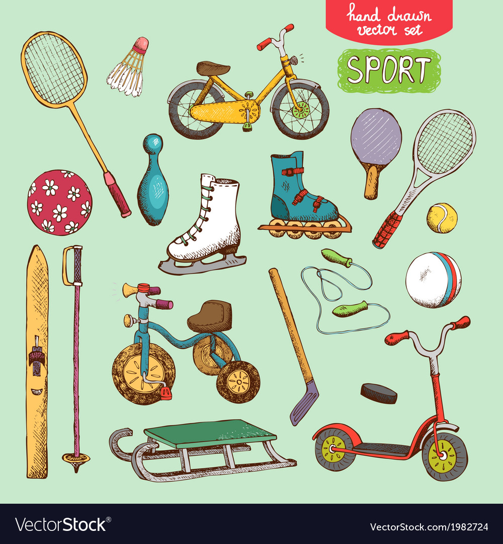 Sport toys set vector | Price: 1 Credit (USD $1)