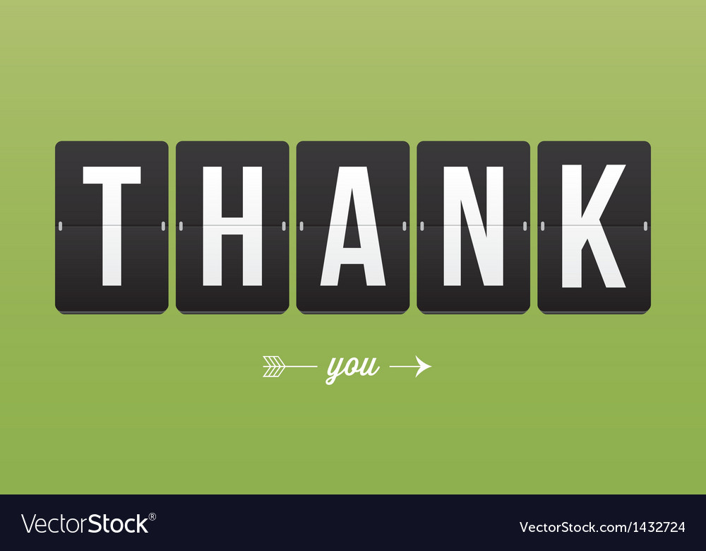 Thank you card mechanical panel letters vector | Price: 1 Credit (USD $1)