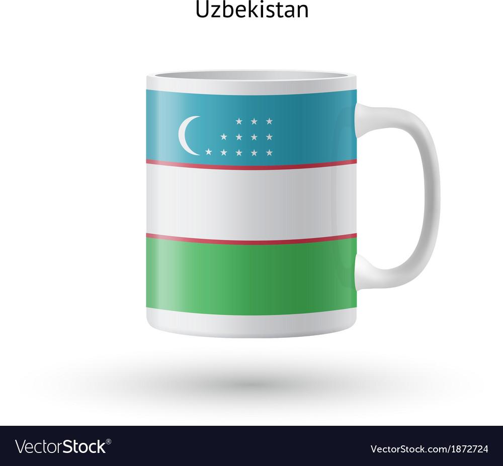 Uzbekistan flag souvenir mug on white background vector | Price: 1 Credit (USD $1)