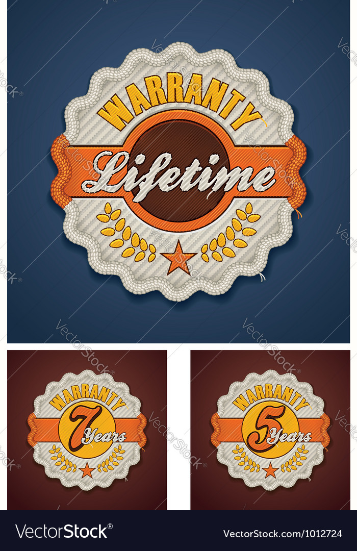 Warranty term fabric badge vector | Price: 3 Credit (USD $3)