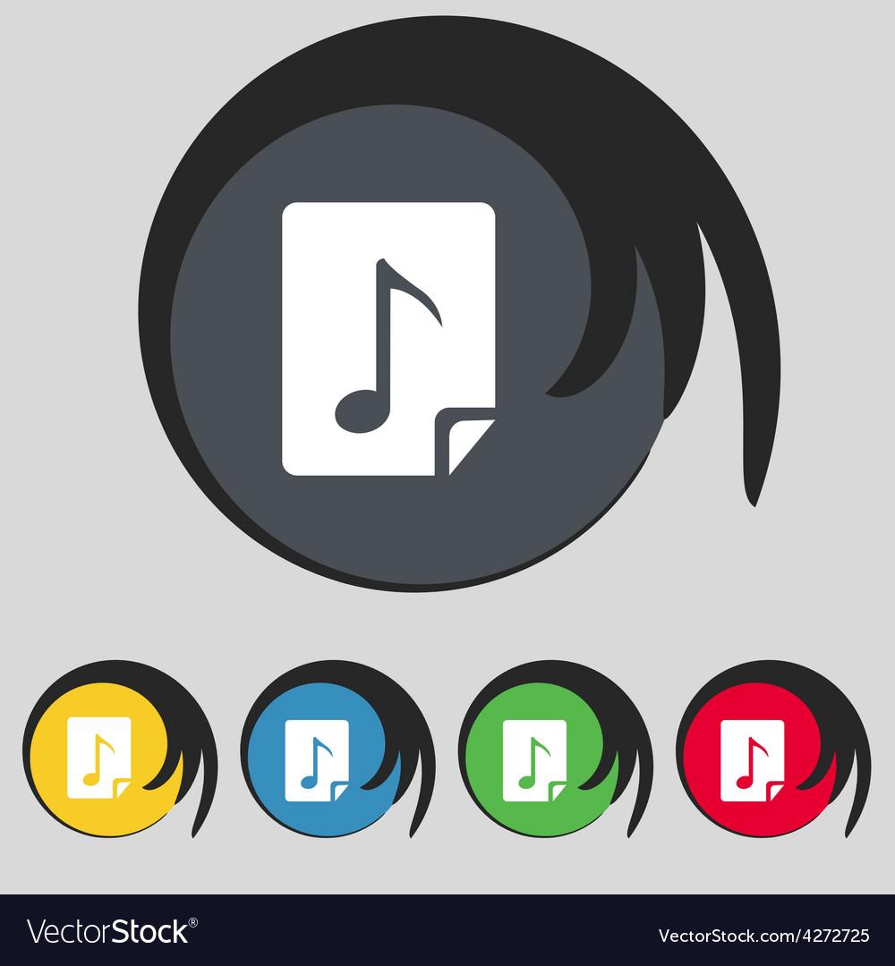 Audio mp3 file icon sign symbol on five colored vector | Price: 1 Credit (USD $1)