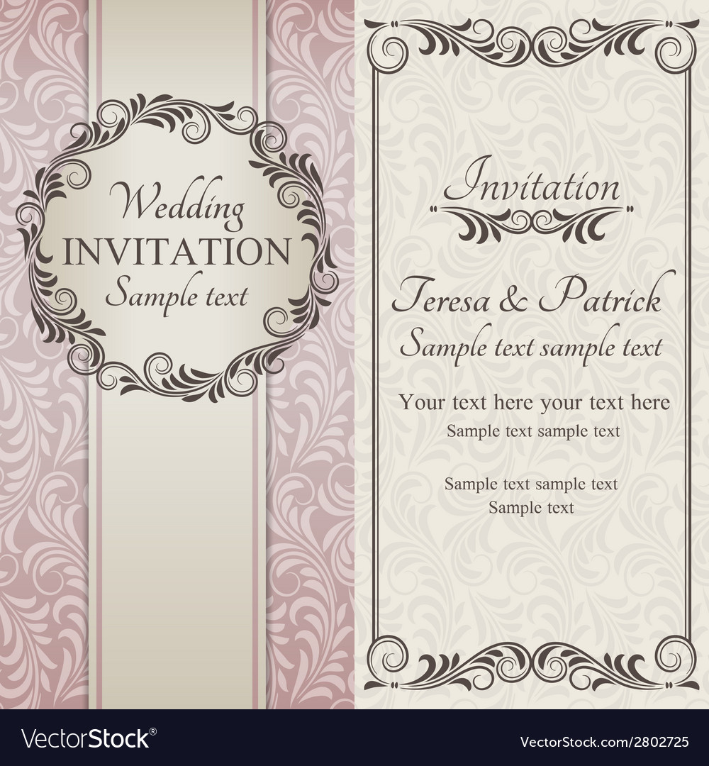 Baroque wedding invitation brown pink and beige vector | Price: 1 Credit (USD $1)