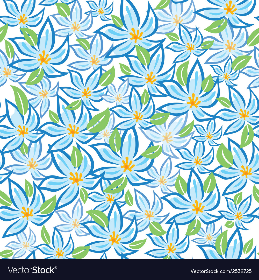 Blue flowers with green leafs vector | Price: 1 Credit (USD $1)