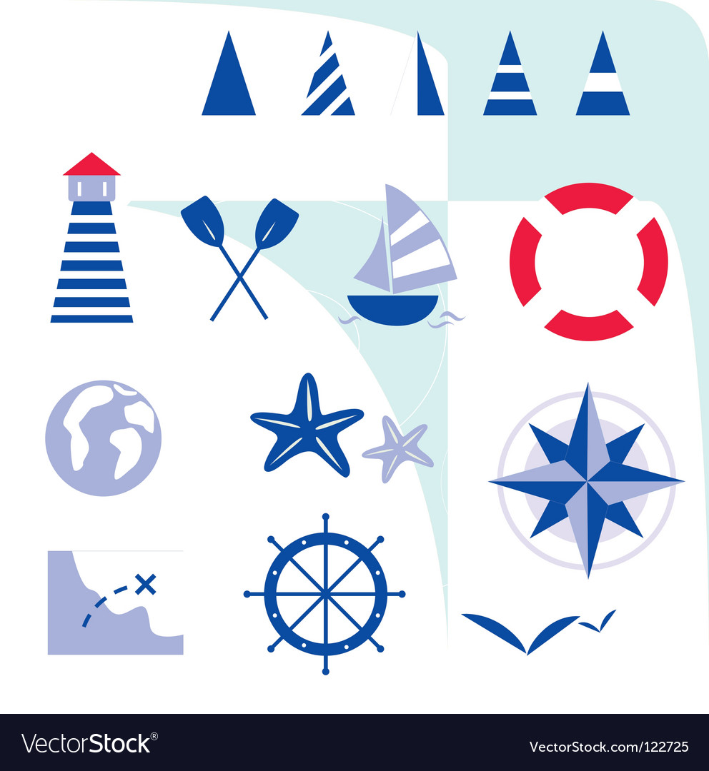 Blue nautical and sailor icons vector | Price: 1 Credit (USD $1)