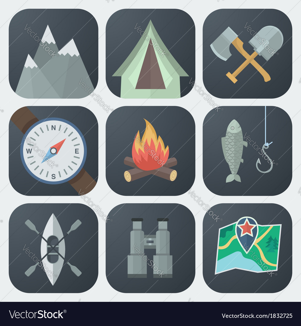 Camping flat icons set vector   Price: 1 Credit (USD $1)
