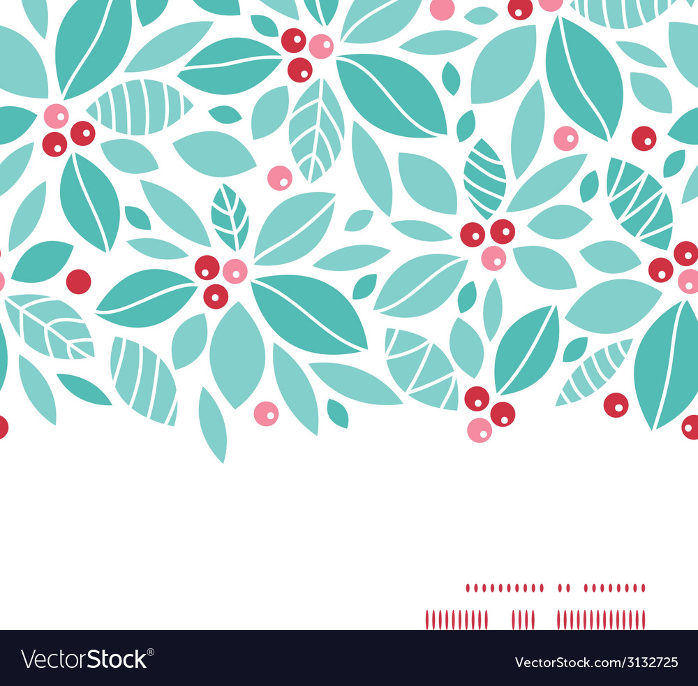 Christmas holly berries horizontal frame seamless vector | Price: 1 Credit (USD $1)