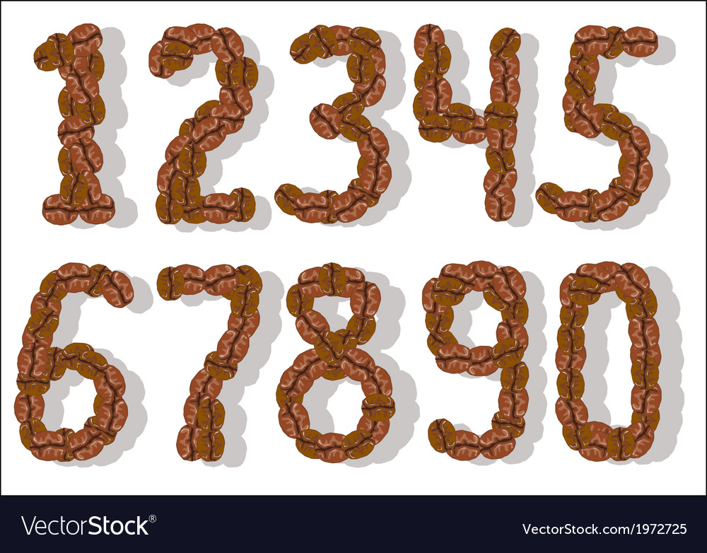 Coffee bean numbers vector | Price: 1 Credit (USD $1)