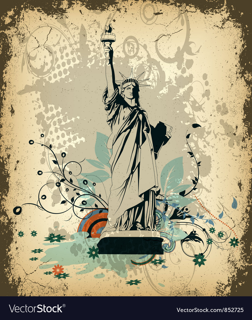 Grunge background with statue of liberty vector | Price: 1 Credit (USD $1)