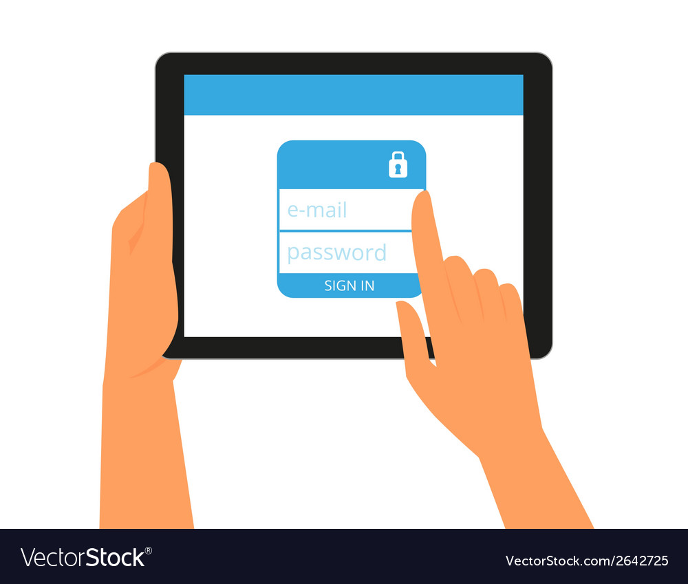 Logging into the account on tablet pc vector | Price: 1 Credit (USD $1)
