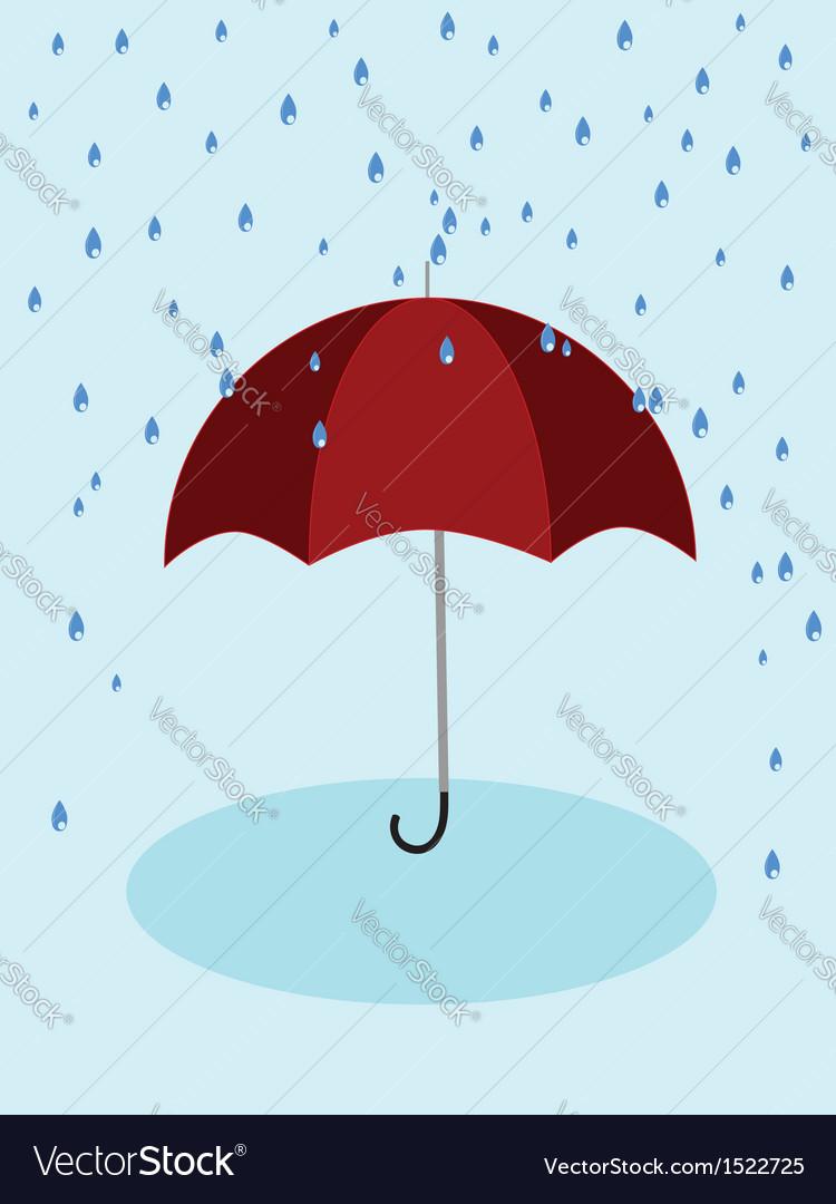 Red umbrella and rain vector | Price: 1 Credit (USD $1)