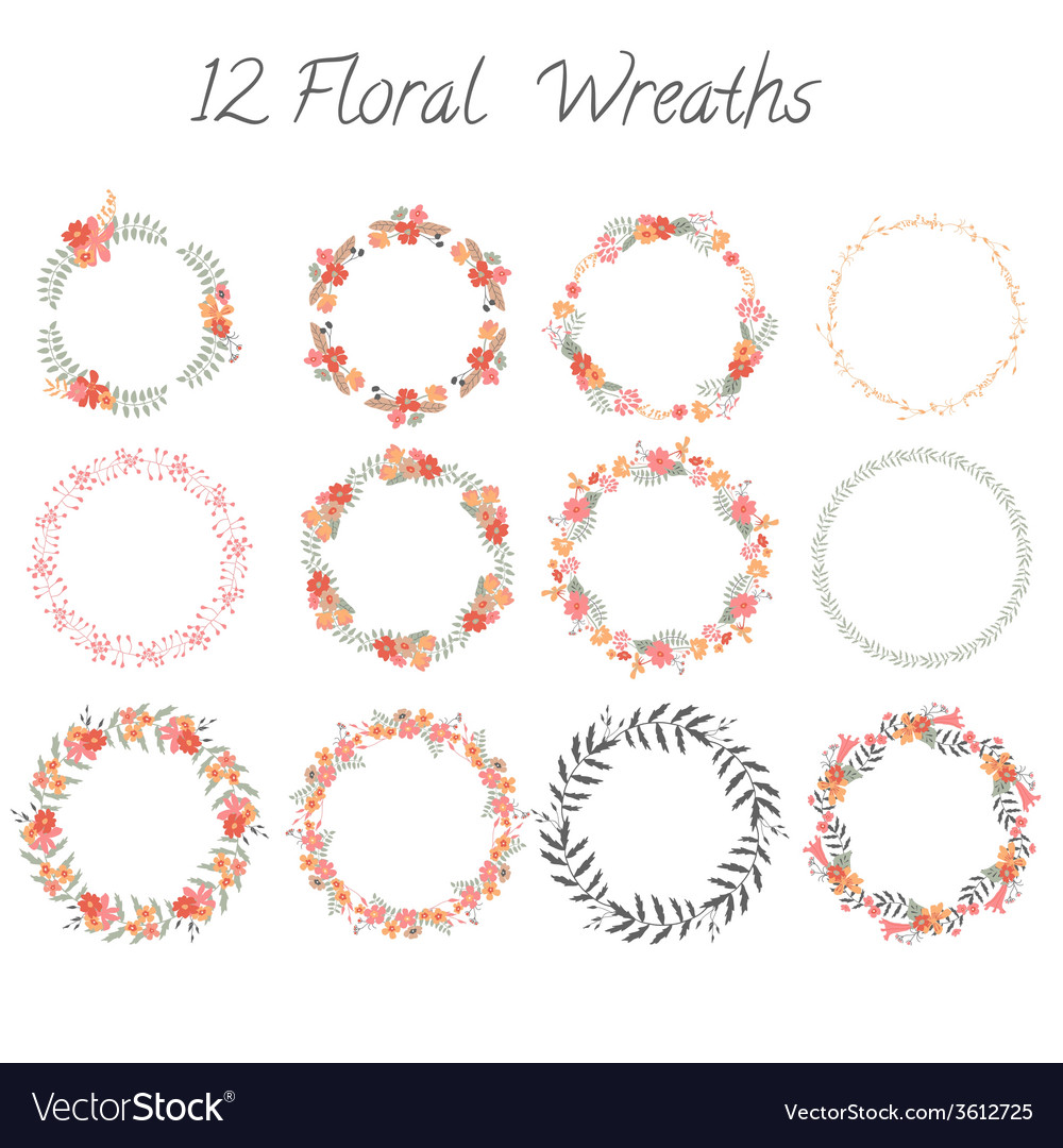 Set of floral wreaths vector | Price: 1 Credit (USD $1)