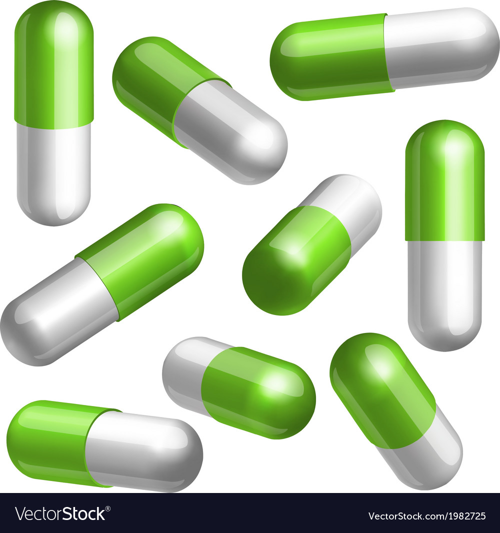 Set of medical capsules in different positions vector | Price: 1 Credit (USD $1)