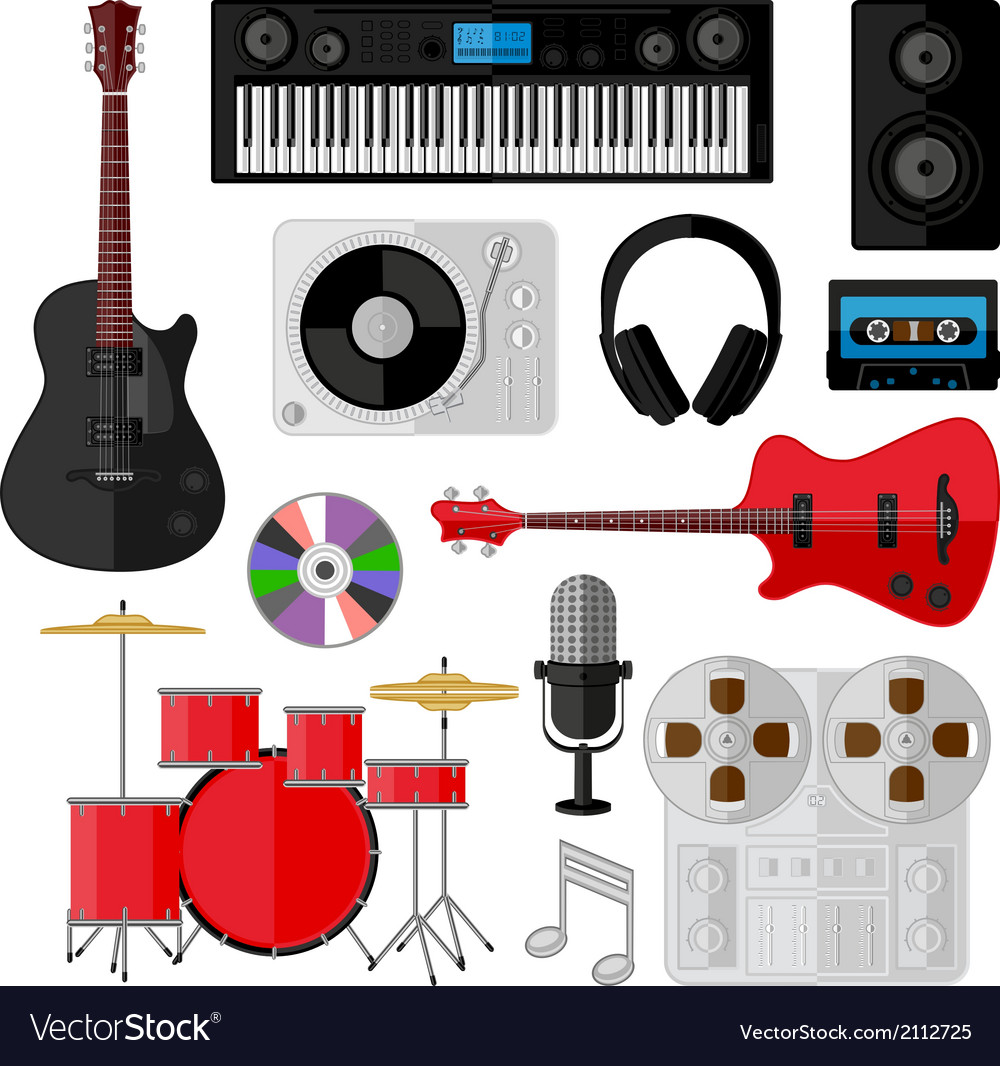 Set of music and sound objects isolated on white vector | Price: 1 Credit (USD $1)