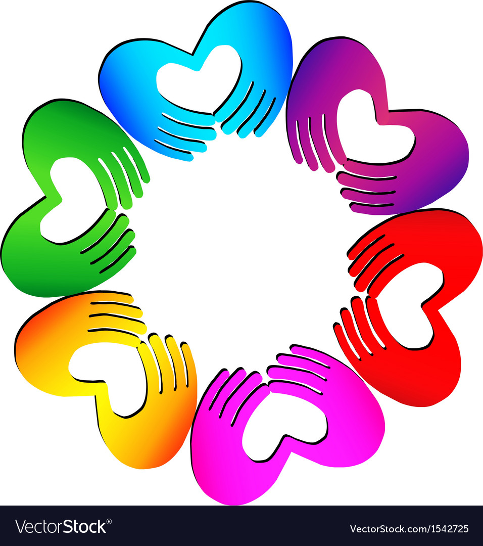 Teamwork hands doing a heart colorful logo vector | Price: 1 Credit (USD $1)