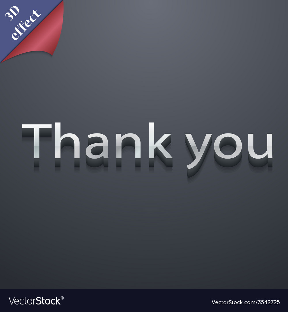 Thank you icon symbol 3d style trendy modern vector | Price: 1 Credit (USD $1)