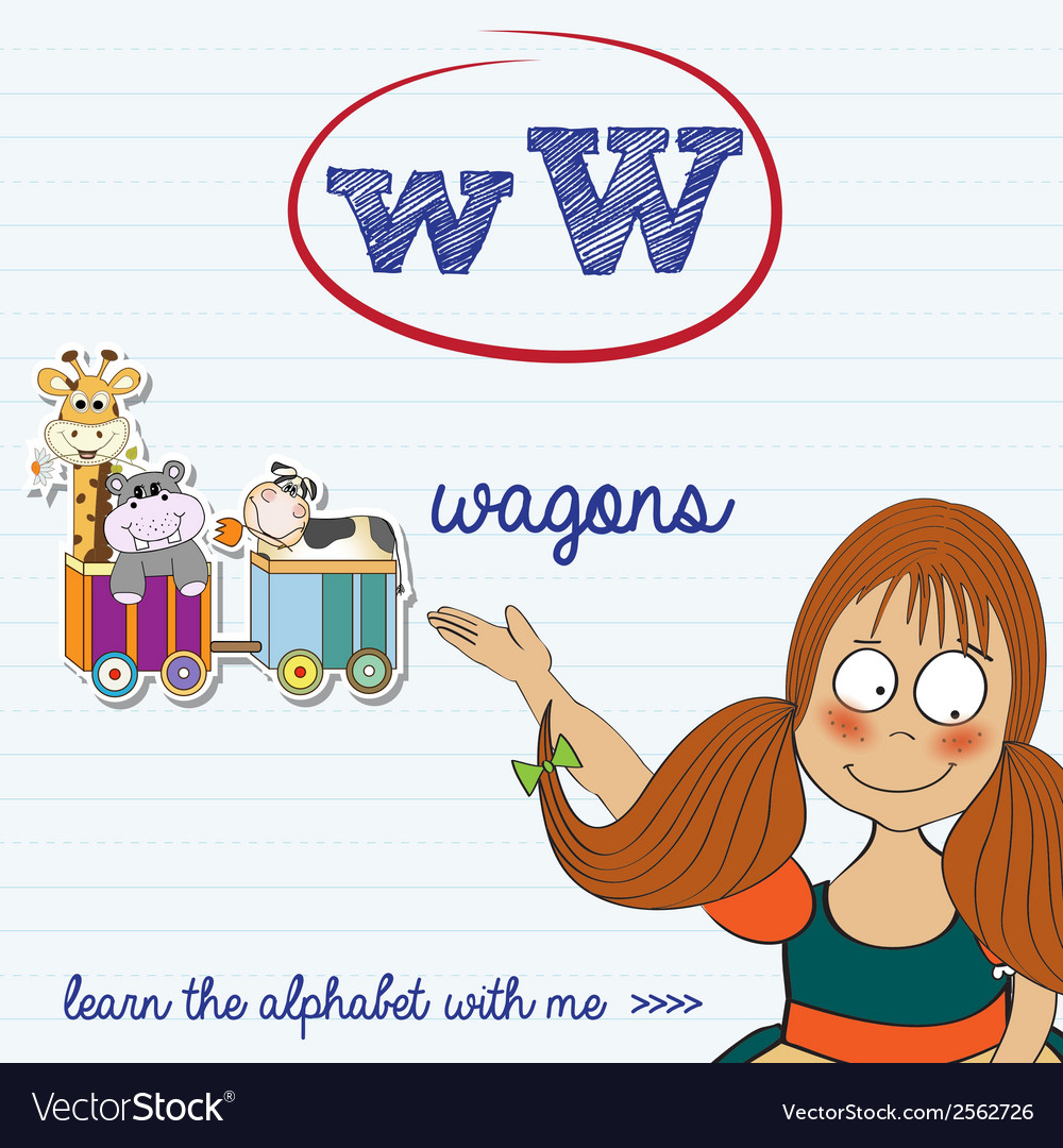 Alphabet worksheet of the letter w vector | Price: 1 Credit (USD $1)