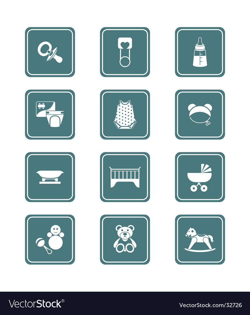Babies icons  teal series vector | Price: 1 Credit (USD $1)