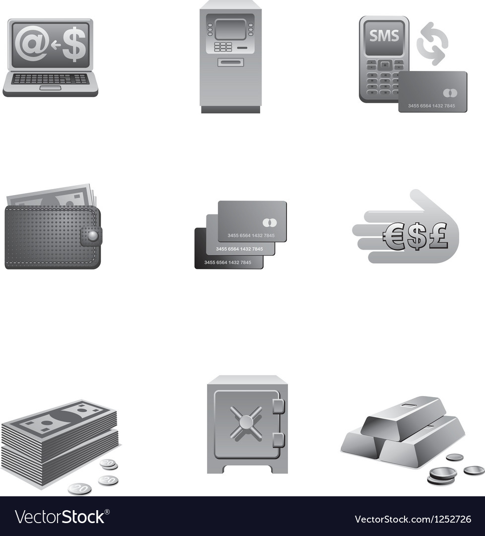 Banking icons grayscale vector | Price: 3 Credit (USD $3)