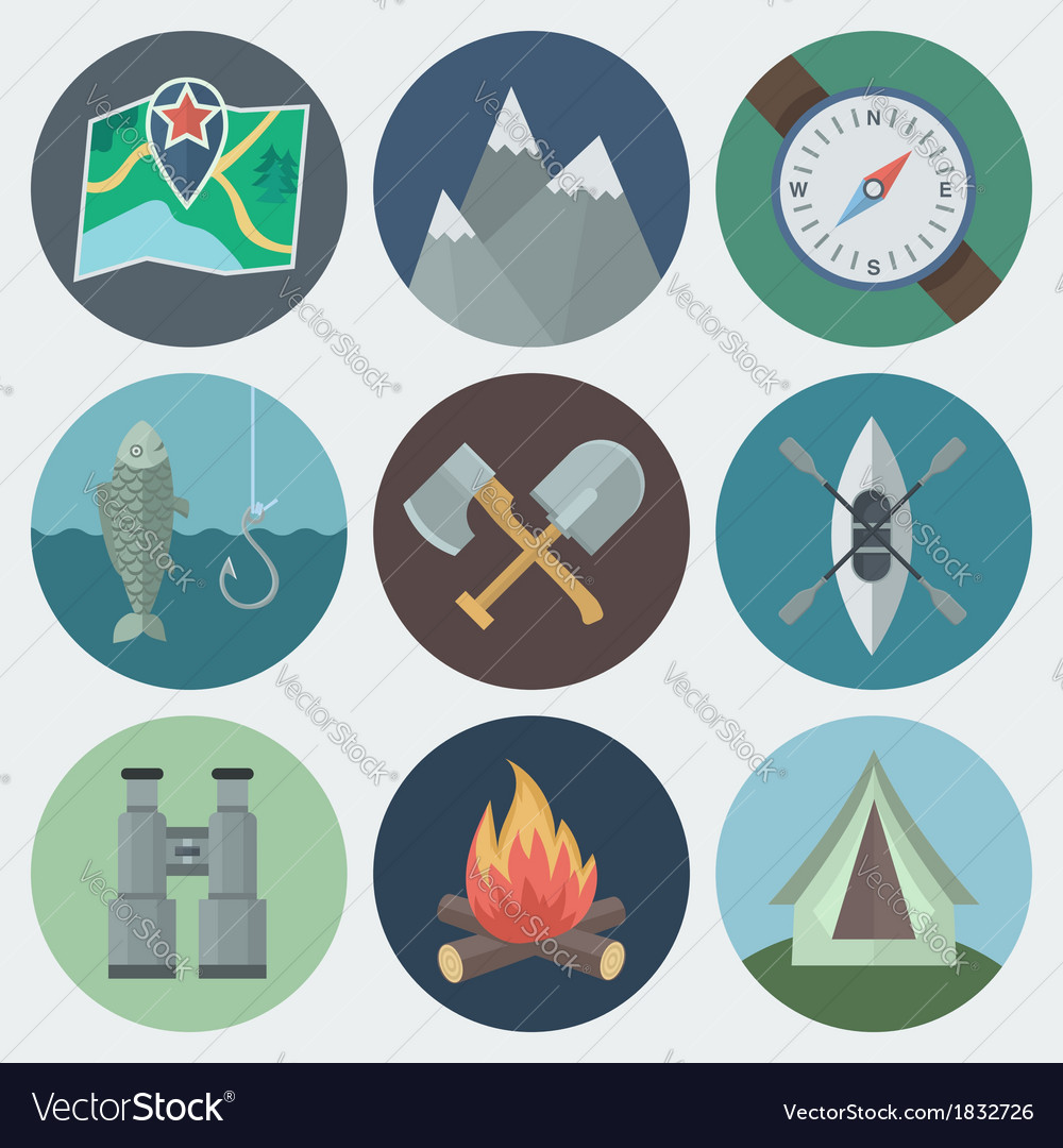 Camping flat icons set vector