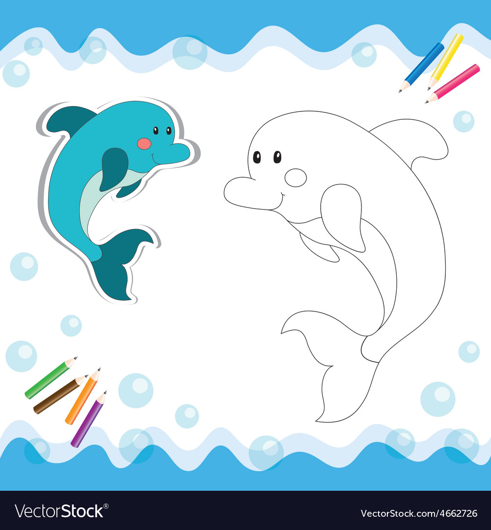 Coloring book dolphin vector | Price: 1 Credit (USD $1)