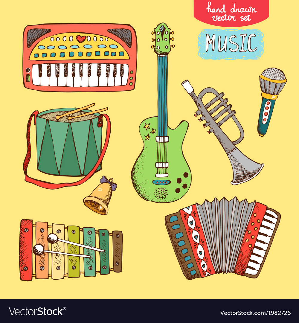 Hand drawn musical instrument vector | Price: 1 Credit (USD $1)