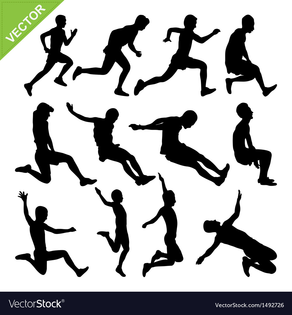 Long jump silhouettes vector | Price: 1 Credit (USD $1)