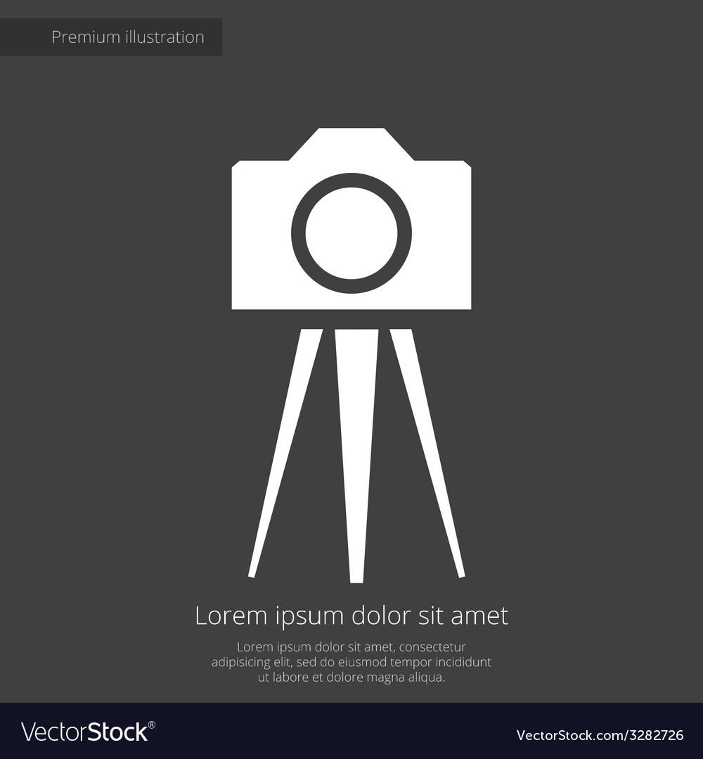 Photo camera tripod premium icon white on dark bac vector | Price: 1 Credit (USD $1)