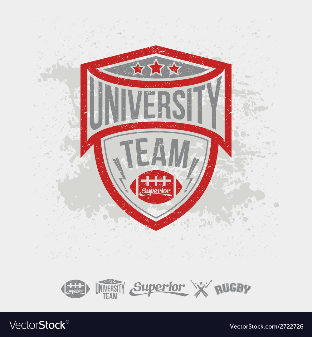 Rugby emblem university team and design elements vector | Price: 1 Credit (USD $1)