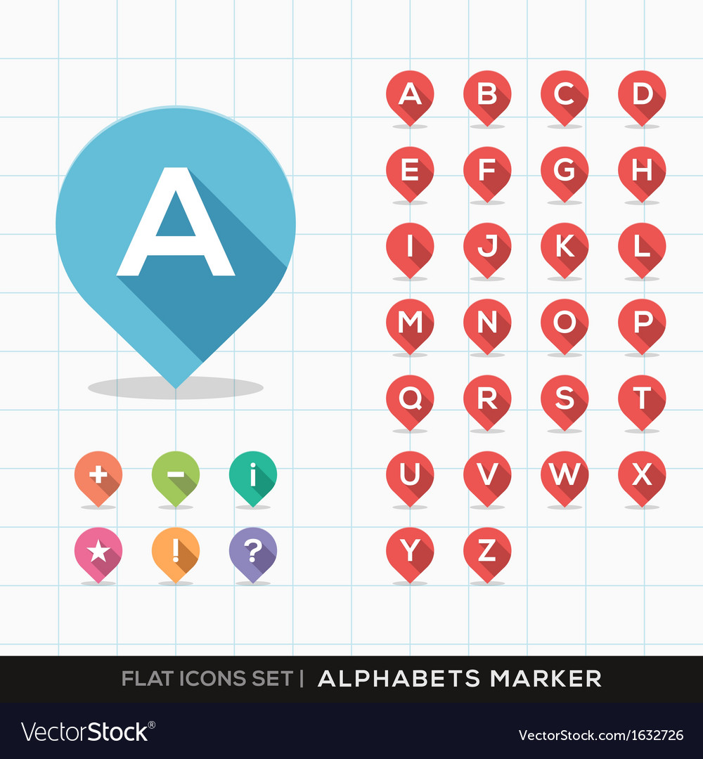 Set of a-z alphabet pin marker flat icons map gps vector | Price: 1 Credit (USD $1)