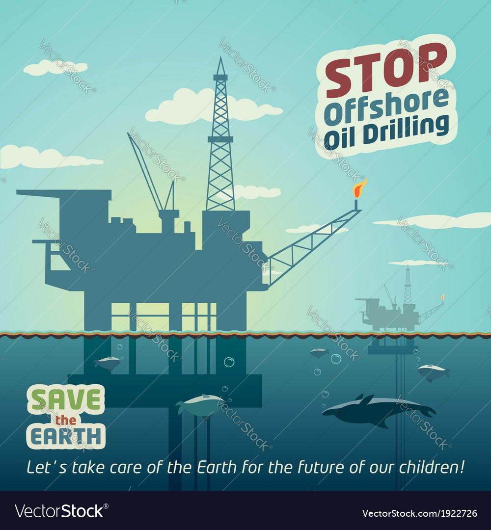 Stop offshore oil drilling vector | Price: 3 Credit (USD $3)