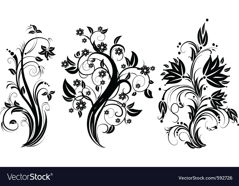 Stylized floral tree vector | Price: 1 Credit (USD $1)