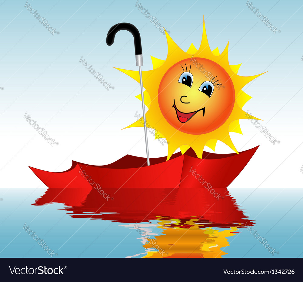 Sun in an umbrella vector | Price: 1 Credit (USD $1)