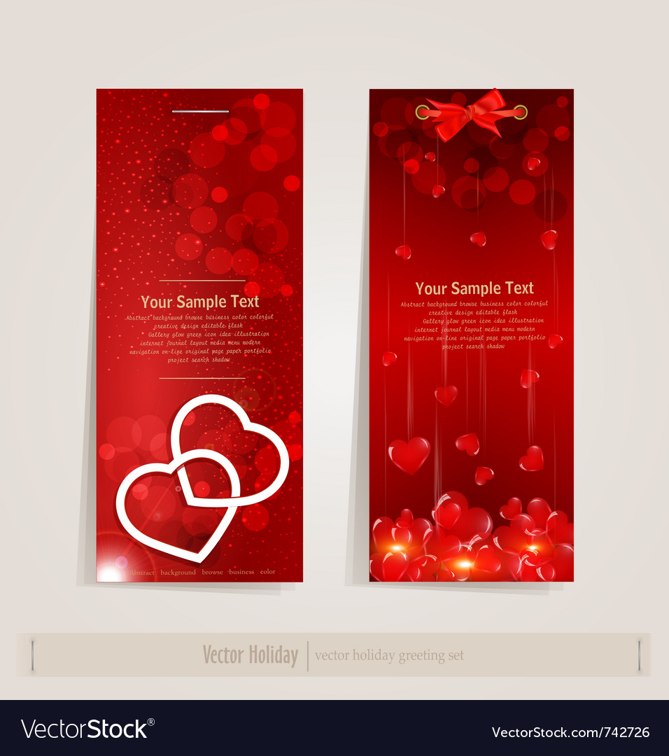 Two vertical festive banner with hearts vector | Price: 1 Credit (USD $1)