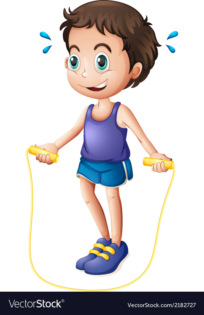 A young man playing with the skipping rope vector | Price: 1 Credit (USD $1)