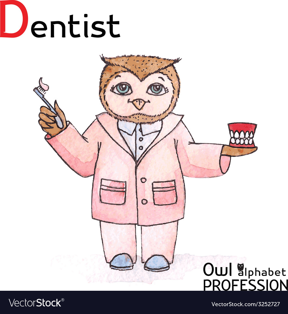 Alphabet professions owl letter d - dentist vector | Price: 1 Credit (USD $1)