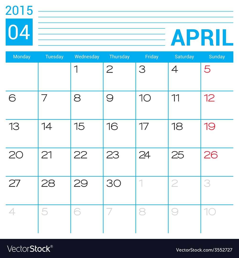 April 2015 calendar page template vector | Price: 1 Credit (USD $1)