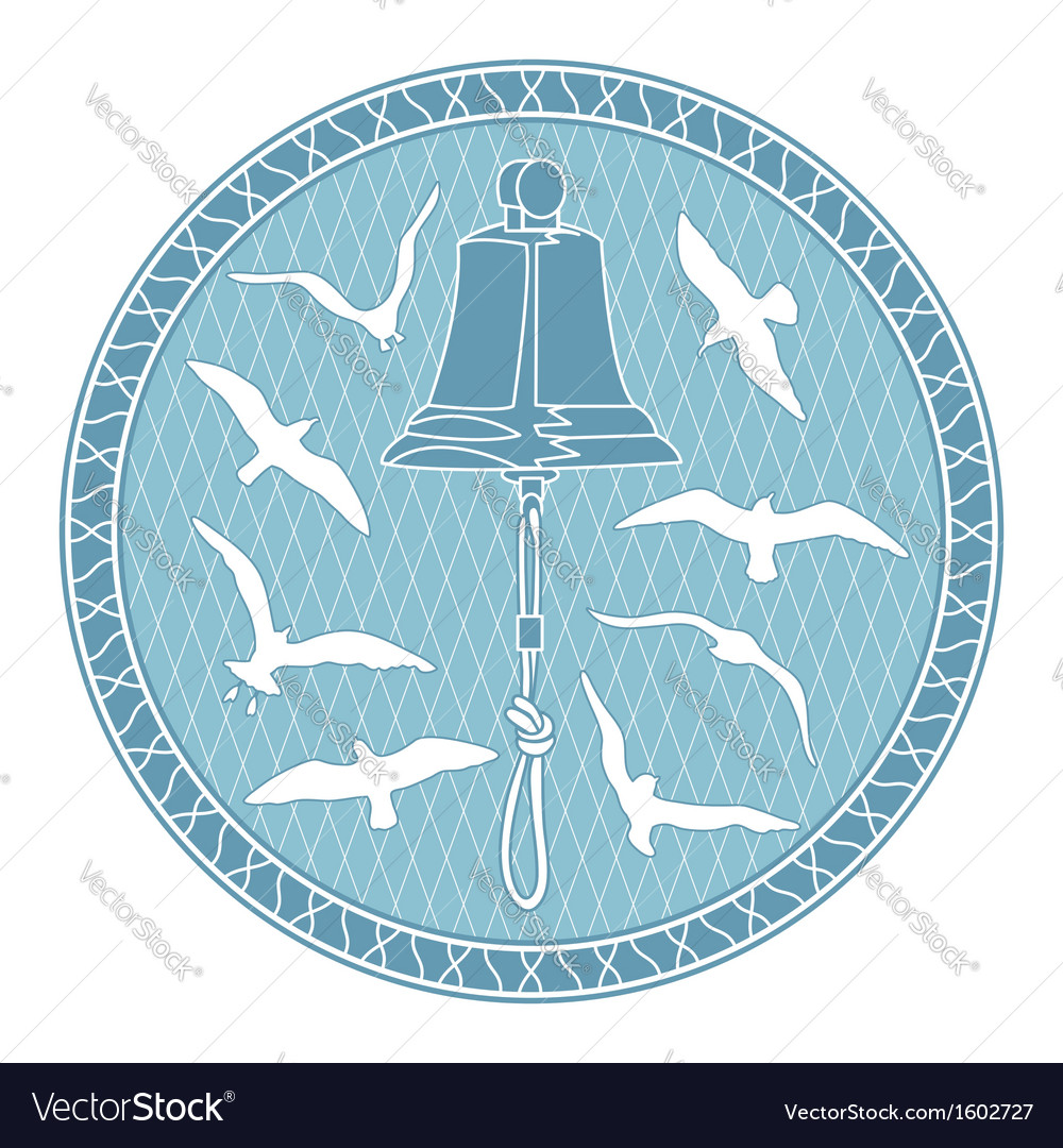 Bell and seagulls vector | Price: 1 Credit (USD $1)