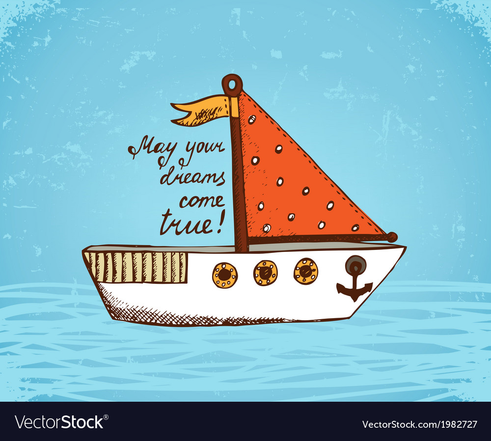 Boat on waves poster vector | Price: 1 Credit (USD $1)