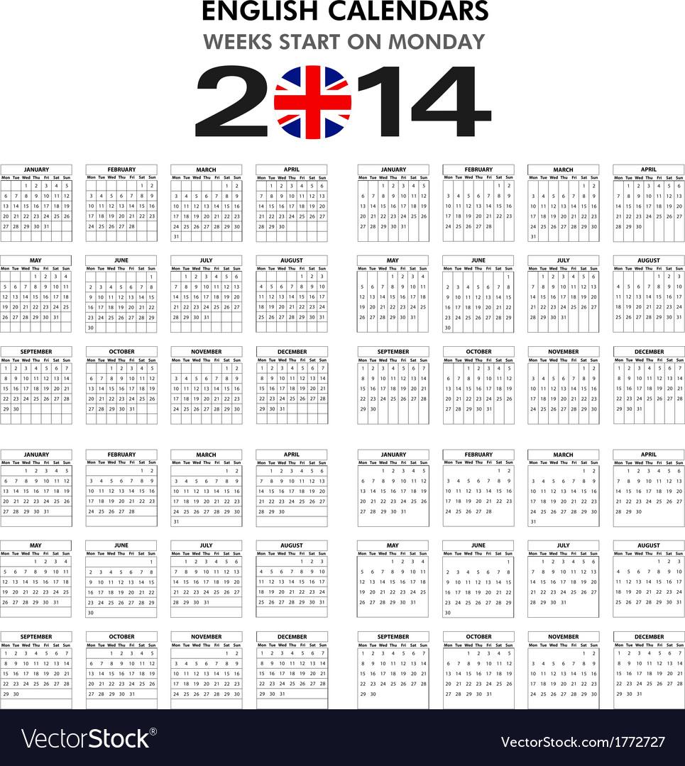 Calendar 2014 starts monday vector | Price: 1 Credit (USD $1)