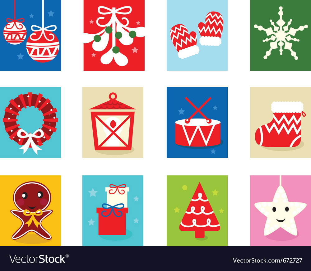 Christmas advent calendar elements 1 vector | Price: 1 Credit (USD $1)