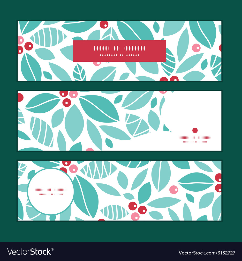 Christmas holly berries horizontal banners set vector | Price: 1 Credit (USD $1)