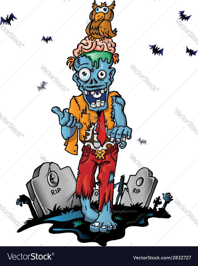 Crazy zombie cartoon vector | Price: 3 Credit (USD $3)