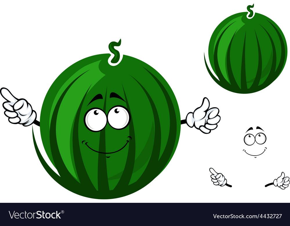 Cute cartoon striped green watermelon character vector   Price: 1 Credit (USD $1)