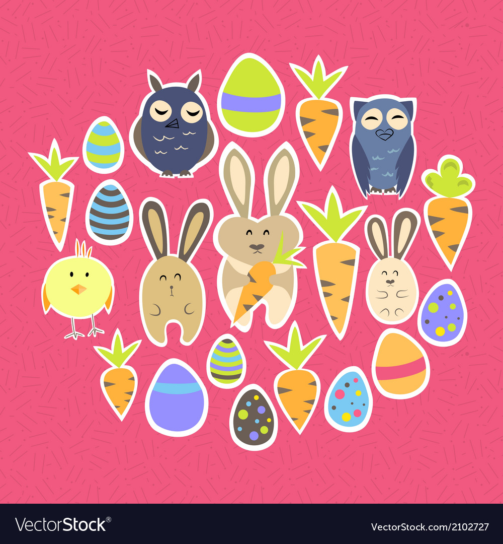 Easter set on a pink vector | Price: 1 Credit (USD $1)
