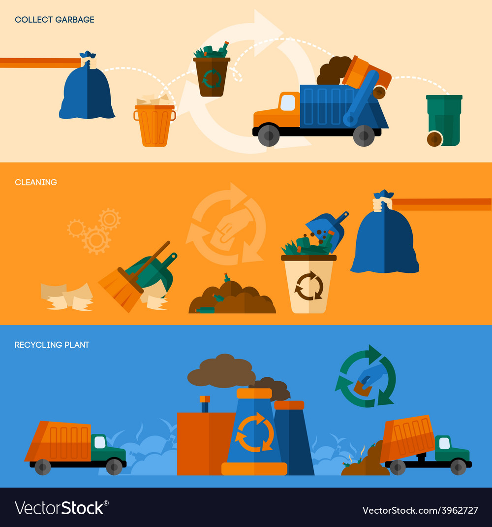 Garbage banner set vector